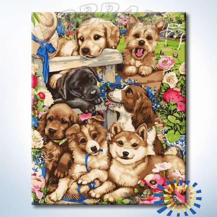 Картина по номерам «Любимые щенята» Дженни НьюлэндHobbart<br><br><br>Артикул: HB4050302-Lite<br>Основа: Цветной холст<br>Сложность: сложные<br>Размер: 40x50 см<br>Количество цветов: 23<br>Техника рисования: Без смешивания красок
