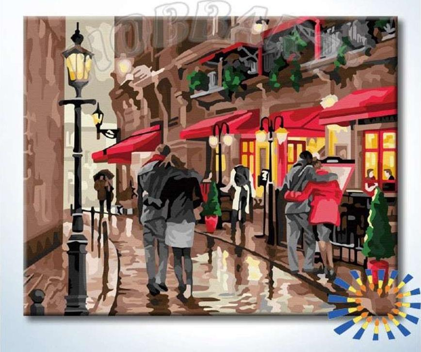 Картина по номерам «Романтичная улица» Ричарда МакнейлаHobbart<br><br><br>Артикул: HB4050348-Lite<br>Основа: Цветной холст<br>Сложность: средние<br>Размер: 40x50 см<br>Количество цветов: 33<br>Техника рисования: Без смешивания красок