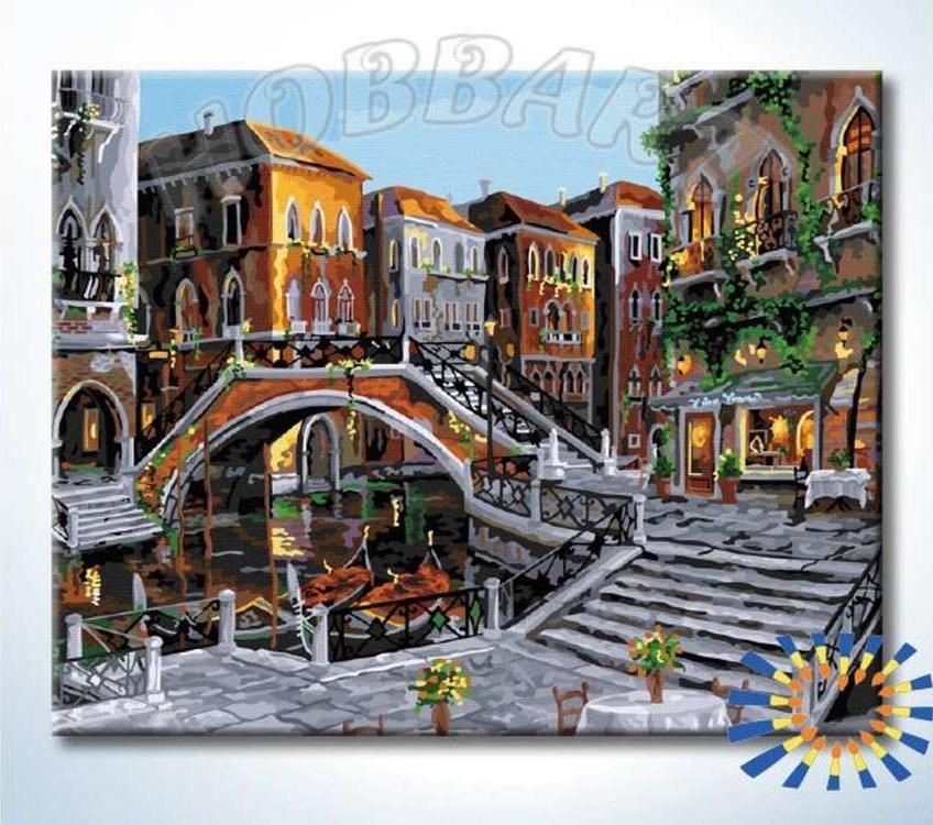Картина по номерам «Очарование Венеции»Hobbart<br><br><br>Артикул: HB4050360-Lite<br>Основа: Цветной холст<br>Сложность: сложные<br>Размер: 40x50 см<br>Количество цветов: 30<br>Техника рисования: Без смешивания красок
