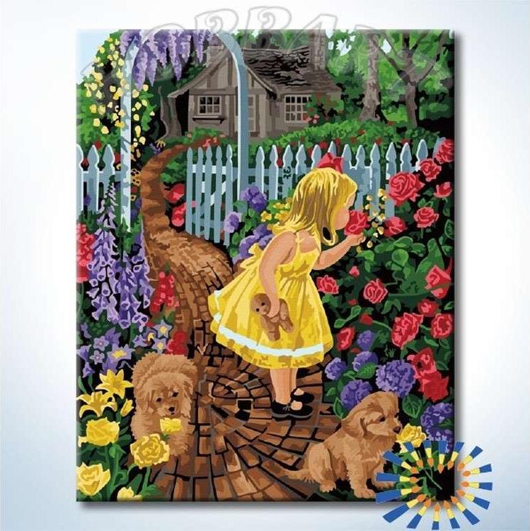 Картина по номерам «Девочка в палисаднике»Hobbart<br><br><br>Артикул: HB4050366-Lite<br>Основа: Цветной холст<br>Сложность: сложные<br>Размер: 40x50 см<br>Количество цветов: 34<br>Техника рисования: Без смешивания красок