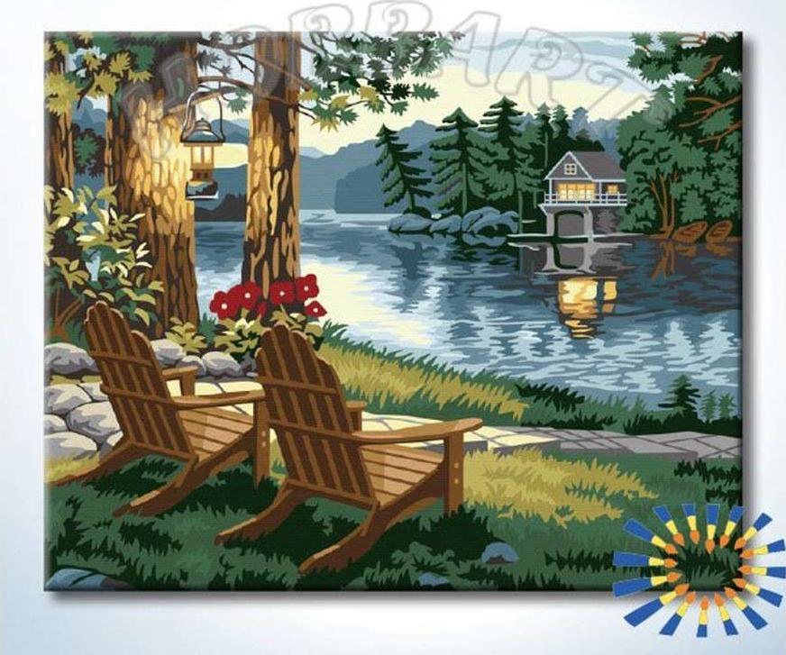 Картина по номерам «Отдых в тишине реки»Hobbart<br><br><br>Артикул: HB4050370-Lite<br>Основа: Цветной холст<br>Сложность: сложные<br>Размер: 40x50 см<br>Количество цветов: 23<br>Техника рисования: Без смешивания красок