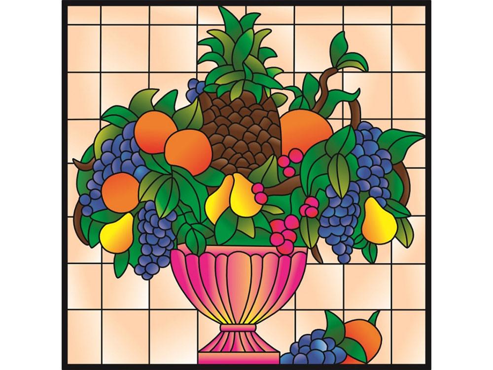 Витраж-раскраска «Ваза с фруктами»Color KIT<br>Витраж-раскраска – новый вид раскрасок для взрослых. В комплектации набора предусмотрено все, что может понадобиться при создании уникального произведения искусства.<br> Основа этой раскраски – стекло, обрамленное в багетную раму. Расписывать витраж достато...<br><br>Артикул: HS001<br>Основа: стекло в багетной раме<br>Размер: 43x43 см<br>Количество цветов: 6-12
