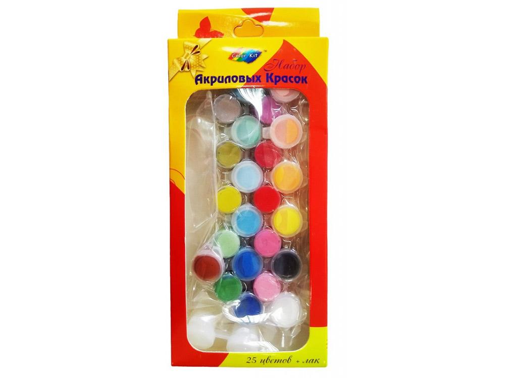 Краски акриловые, набор 25 цветов + лакАксессуары для рисования картин по номерам<br>Акриловые краски на водной основе<br>