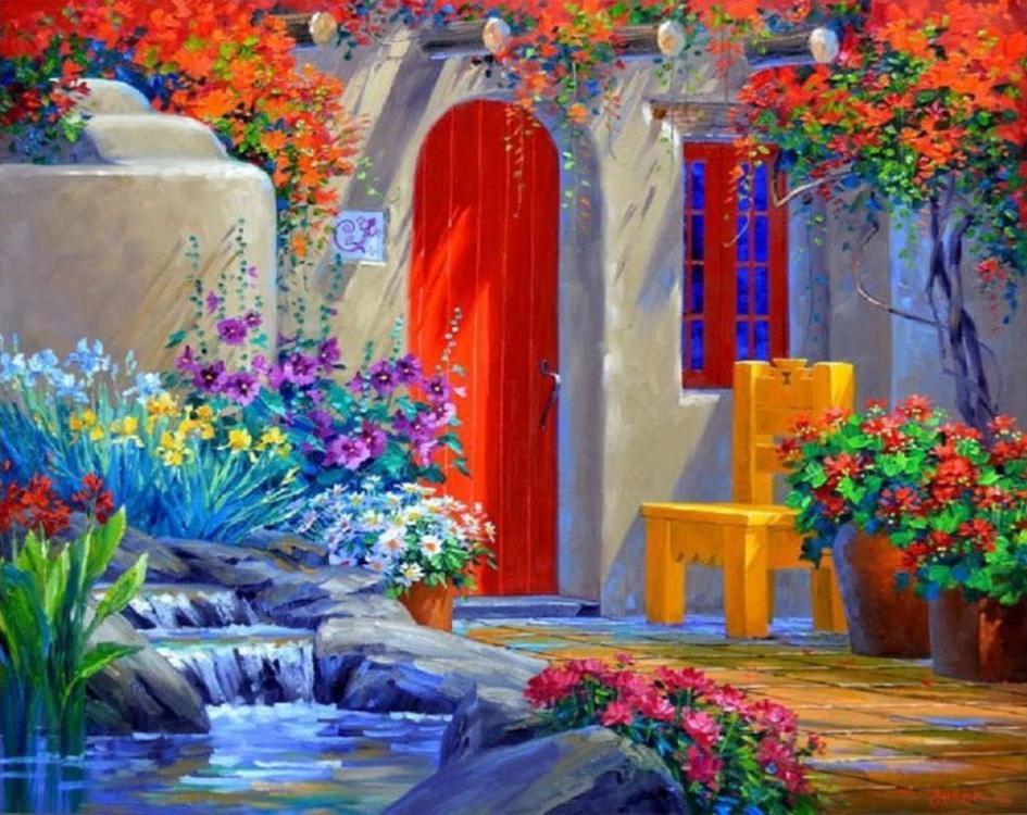 Картина по номерам «Уютный дворик» Микки СенкарикРаскраски по номерам Color Kit<br><br><br>Артикул: KS035<br>Основа: Картон<br>Сложность: сложные<br>Размер: 30x40 см<br>Количество цветов: 16<br>Техника рисования: Без смешивания красок