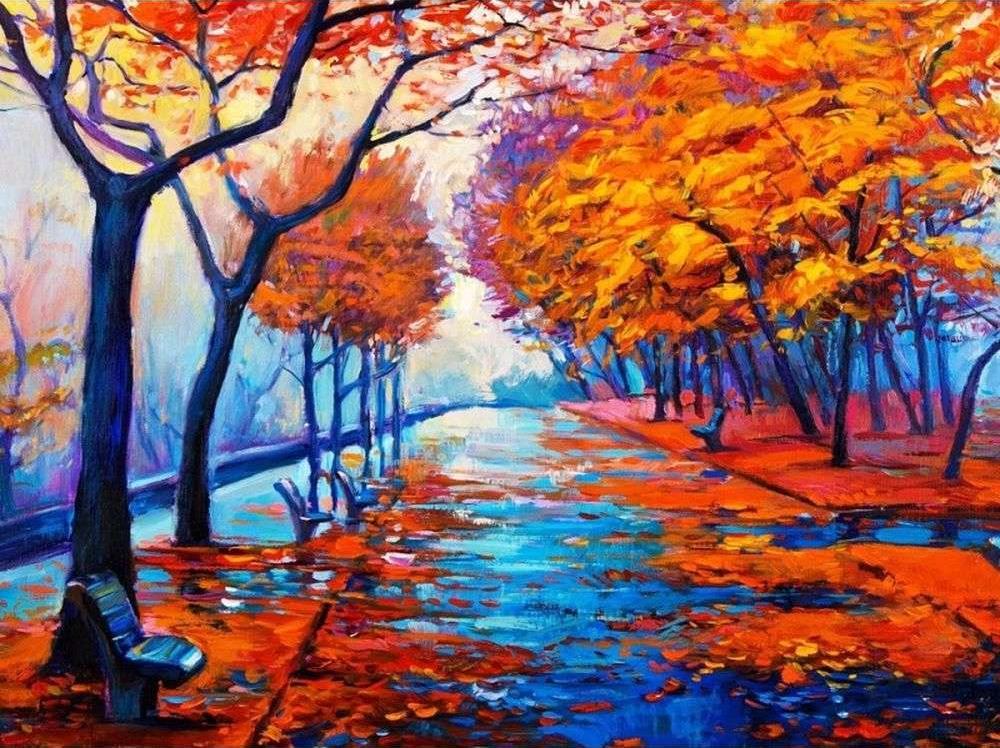 Картина по номерам «Осенняя аллея»Раскраски по номерам Color Kit<br><br><br>Артикул: KS036<br>Основа: Картон<br>Сложность: сложные<br>Размер: 30x40 см<br>Количество цветов: 16<br>Техника рисования: Без смешивания красок