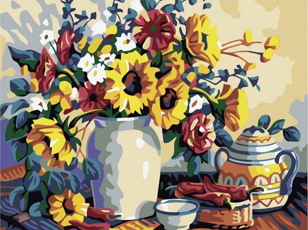 Картина по номерам «Натюрморт с подсолнухами»Раскраски по номерам Color Kit<br><br><br>Артикул: KS049<br>Основа: Картон<br>Сложность: сложные<br>Размер: 30x40 см<br>Количество цветов: 16<br>Техника рисования: Без смешивания красок