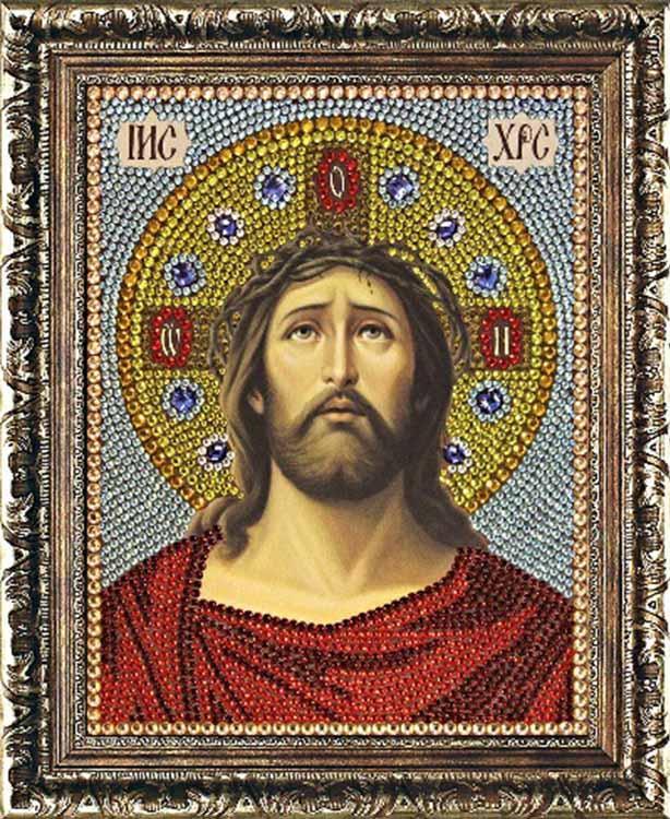 Термостразы «Иисус Христос в терновом венце»Преобрана<br>Багетную рамку необходимо приобретать отдельно. Как и термоаппликатор, рамка не предусмотрена в комплекте.<br> Картины из страз от производителя Преобрана - яркие и красивые образы, необычный процесс выкладки камней и роскошный результат. Особенности компле...<br><br>Артикул: P0073<br>Основа: Холст без подрамника<br>Сложность: средние<br>Размер: 22x28 см<br>Выкладка: Частичная<br>Количество цветов: 17<br>Тип страз: Круглые прозрачные (стеклянные) термостразы