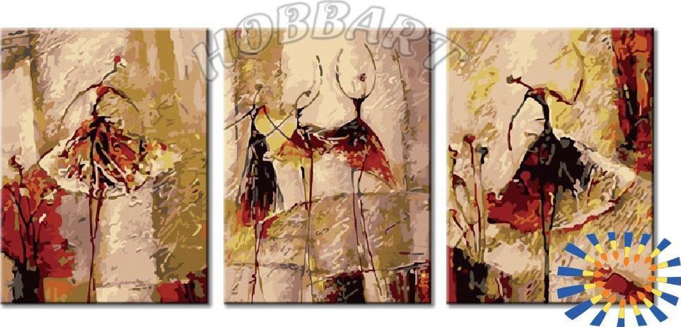 Картина по номерам «Балет! Балет! Балет!»Hobbart<br><br><br>Артикул: PH34090001-Lite<br>Основа: Цветной холст<br>Сложность: средние<br>Размер: 3 шт. 30x40 см<br>Количество цветов: 30<br>Техника рисования: Без смешивания красок