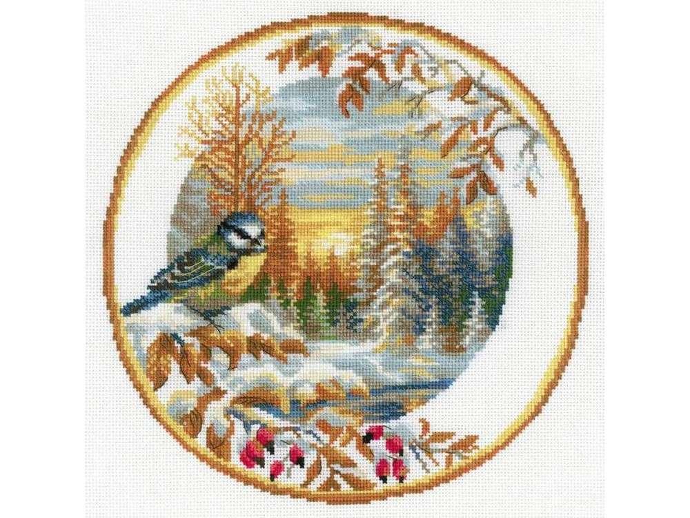 Вышивка крестом, Набор для вышивания «Тарелка с синицей», Риолис (Сотвори Сама), 30x30 см, 1692  - купить со скидкой