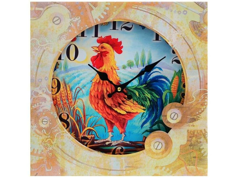 Часы настенные «Золотой петушок»Дизайнерские настенные часы<br><br><br>Артикул: 017-CL<br>Размер: 34 см (диаметр)