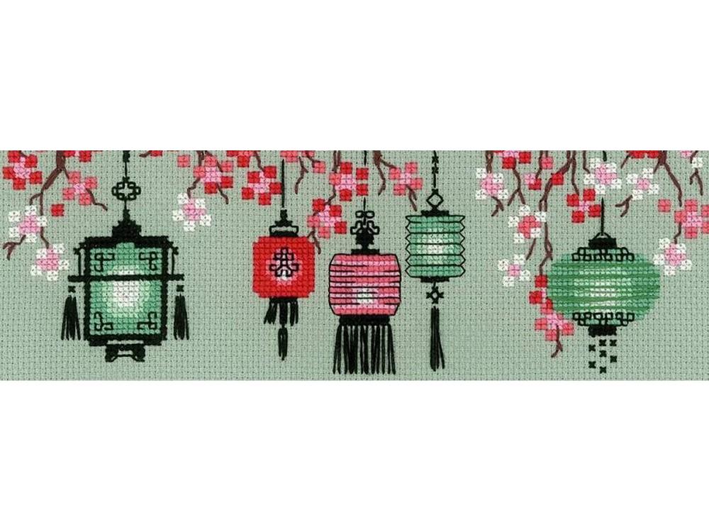 Набор для вышивания «Китайские фонарики»Вышивка крестом Риолис<br><br><br>Артикул: 1707<br>Основа: канва 14 Aida Zweigart<br>Размер: 24x8 см<br>Техника вышивки: счетный крест<br>Серия: Риолис (Сотвори Сама)<br>Тип схемы вышивки: Цветная схема<br>Цвет канвы: Зеленый (хаки)<br>Количество цветов: 9<br>Художник, дизайнер: Галина Скабеева<br>Размер упаковки: 21x27x0,5 см<br>Заполнение: Частичное<br>Рисунок на канве: не нанесён<br>Техника: Вышивка крестом<br>Нитки: мулине Anchor