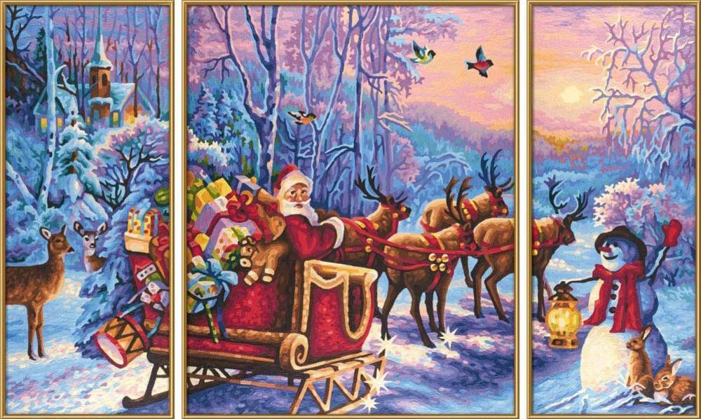 """Картина по номерам «Санта-Клаус на оленях»Schipper (Шиппер)<br>Производитель наборов картин по номерам """"Schipper"""" - это исключительное качество всех составляющих. Особенностью этого бренда является то, что основа картины - высококачественный картон, покрытие которого имитирует натуральный холст. Краски """"Schipper"""" обл...<br><br>Артикул: 9260758<br>Основа: Картон<br>Сложность: сложные<br>Размер: 2 шт. 20x50 см, 1 шт. 40x50 см<br>Количество цветов: 25-30<br>Техника рисования: Без смешивания красок"""