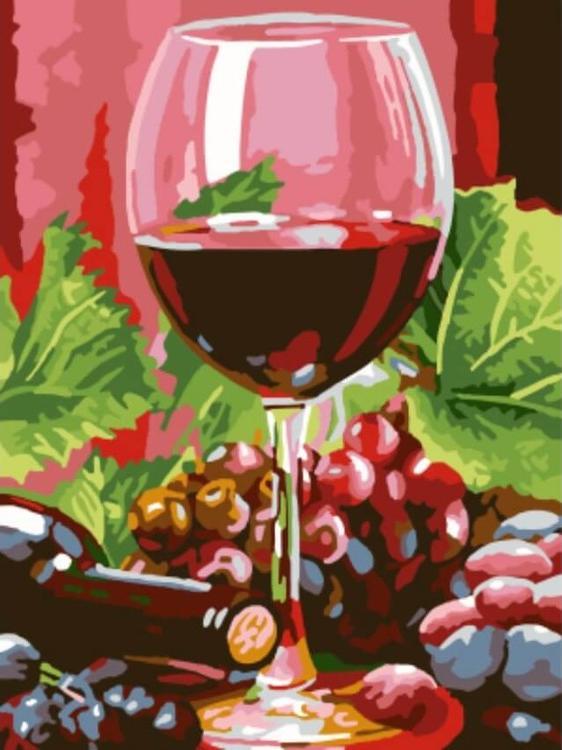 Картина по номерам «Бокал красного вина»Цветной (Standart)<br><br><br>Артикул: EX5308_Z<br>Основа: Холст<br>Сложность: легкие<br>Размер: 30x40 см<br>Количество цветов: 19<br>Техника рисования: Без смешивания красок