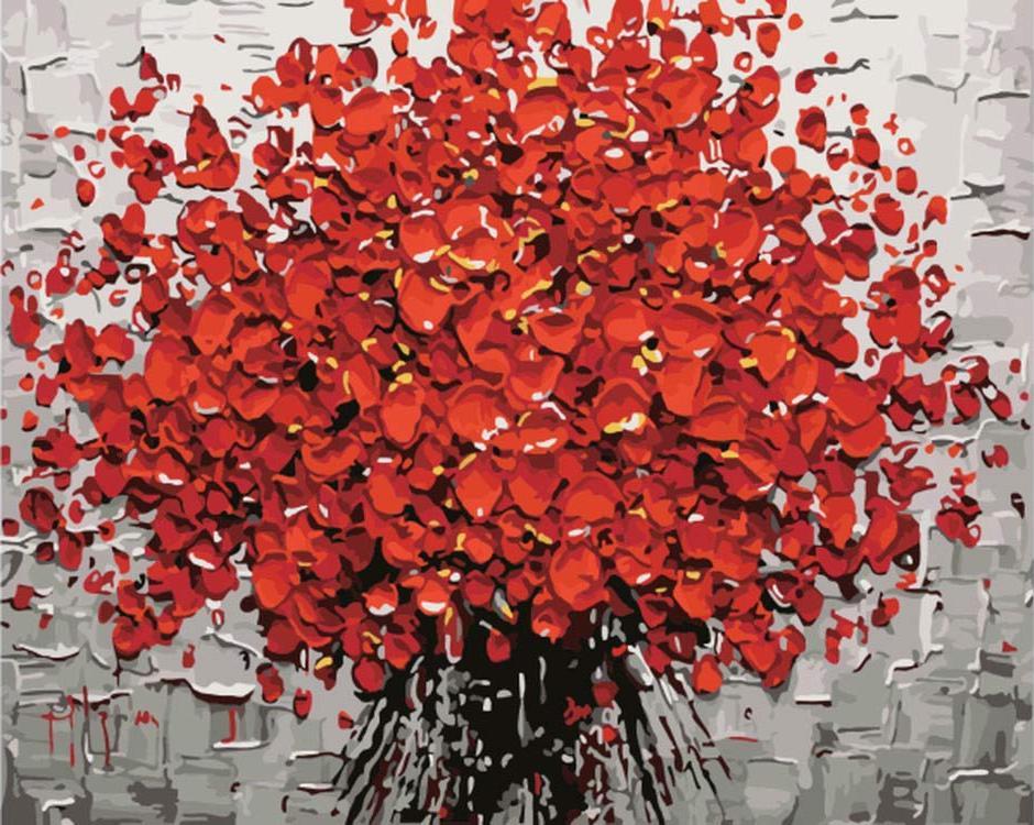 Картина по номерам «Красный букет»Раскраски по номерам<br><br>