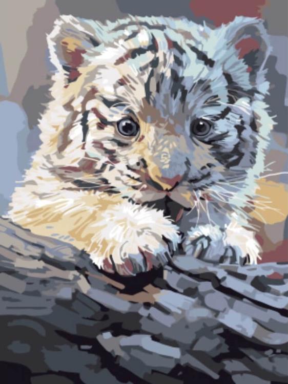 Картина по номерам «Бенгальский тигренок на бревне»Цветной (Standart)<br><br>