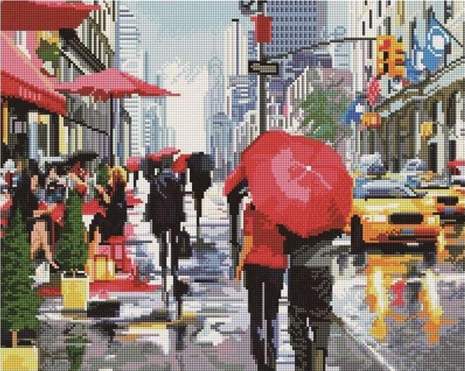 Алмазная вышивка «Дождь в Нью-Йорке» Ричарда Макнейла
