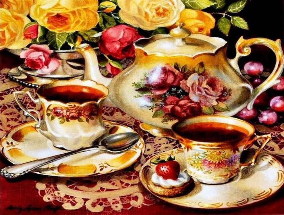 Алмазная вышивка «Чайный сервиз» Сэнди Линам КлюгАлмазная вышивка<br><br>