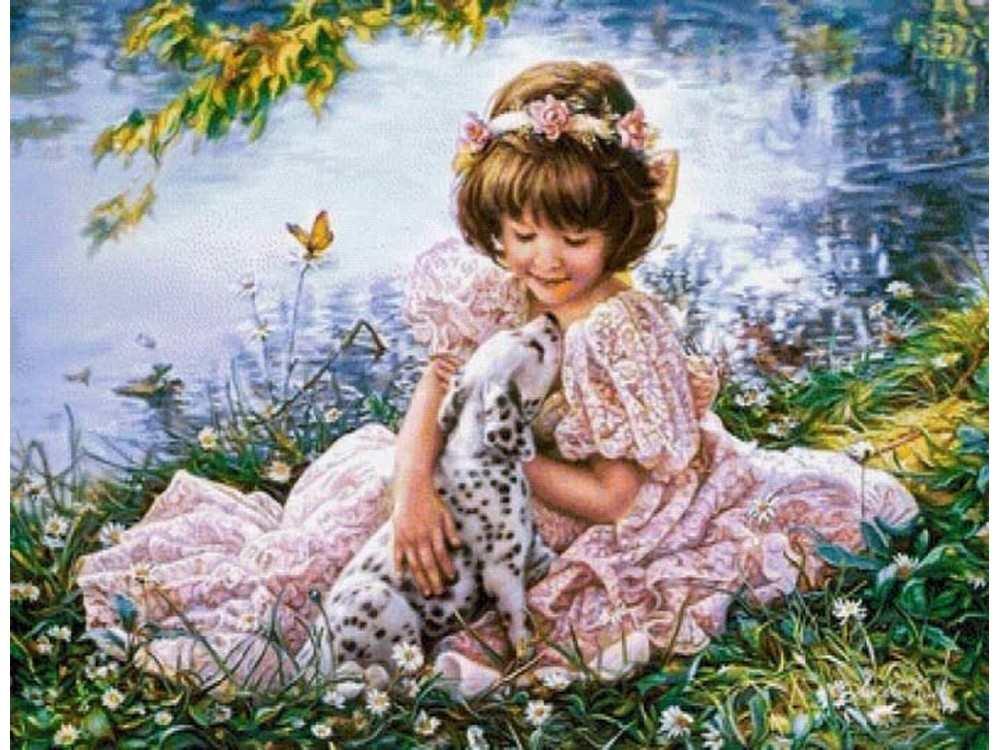 Алмазная вышивка «Девочка и щенок» Сандры КукАлмазная вышивка Painting Diamond<br><br>