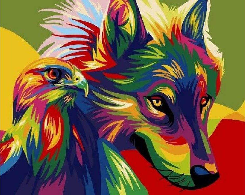 Картина по номерам «Радужный волк и беркут» Ваю РомдониPaintboy (Premium)<br><br>