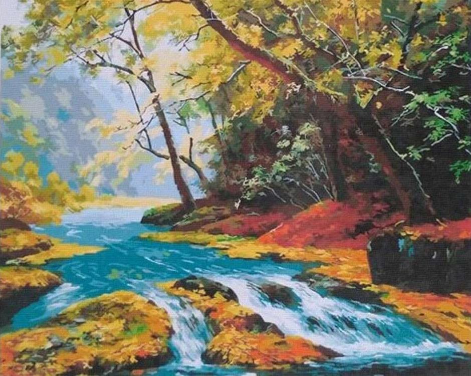 Картина по номерам «Горная речка»Paintboy (Premium)<br><br><br>Артикул: GX21354<br>Основа: Холст<br>Сложность: средние<br>Размер: 40x50 см<br>Количество цветов: 24-30<br>Техника рисования: Без смешивания красок