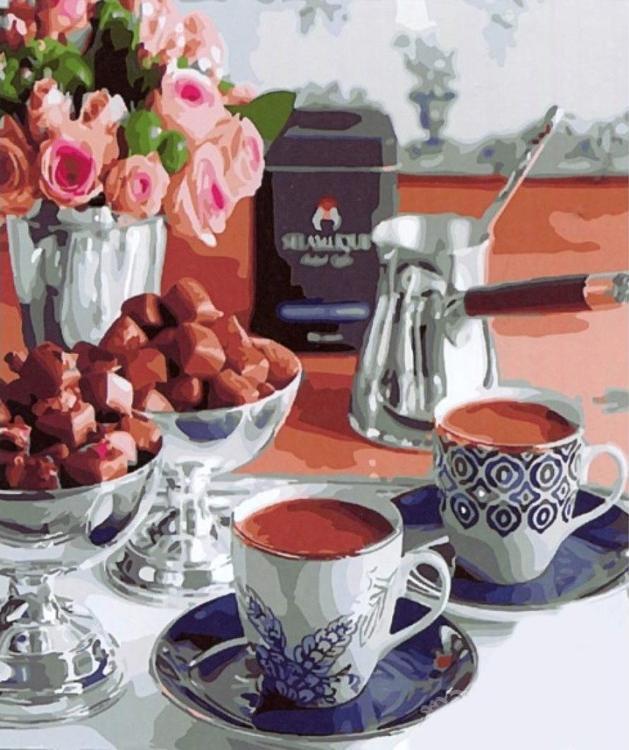 Картина по номерам «Утренний кофе»Paintboy (Premium)<br><br><br>Артикул: GX22097<br>Основа: Холст<br>Сложность: средние<br>Размер: 40x50 см<br>Количество цветов: 24-30<br>Техника рисования: Без смешивания красок