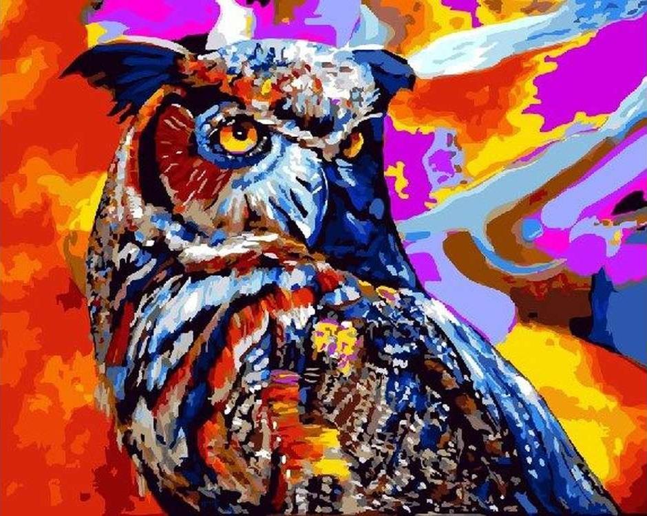 Картина по номерам «Разноцветная сова»Paintboy (Premium)<br><br><br>Артикул: GX22393<br>Основа: Холст<br>Сложность: сложные<br>Размер: 40x50 см<br>Количество цветов: 30<br>Техника рисования: Без смешивания красок