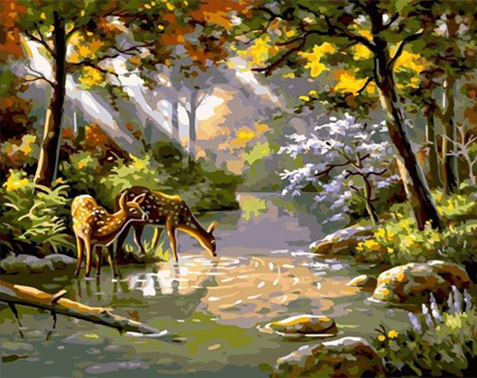 Картина по номерам «Олени на водопое»Paintboy (Premium)<br><br><br>Артикул: GX4825<br>Основа: Холст<br>Сложность: средние<br>Размер: 40x50 см<br>Количество цветов: 27<br>Техника рисования: Без смешивания красок