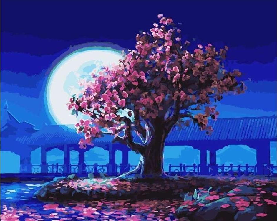 Картина по номерам «Розовое дерево на фоне Луны»