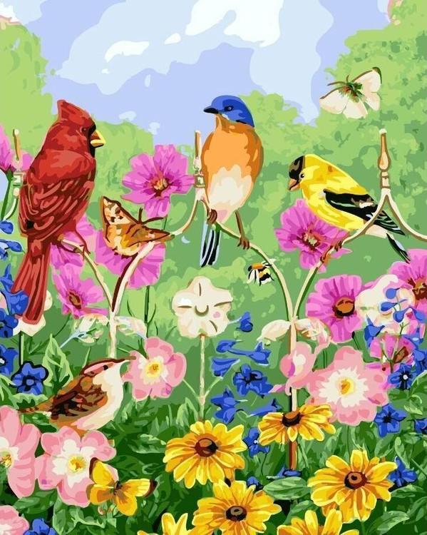 Купить Картина по номерам «Птички, бабочки, цветы» Джейн Мэдей, Цветной (Standart), Китай