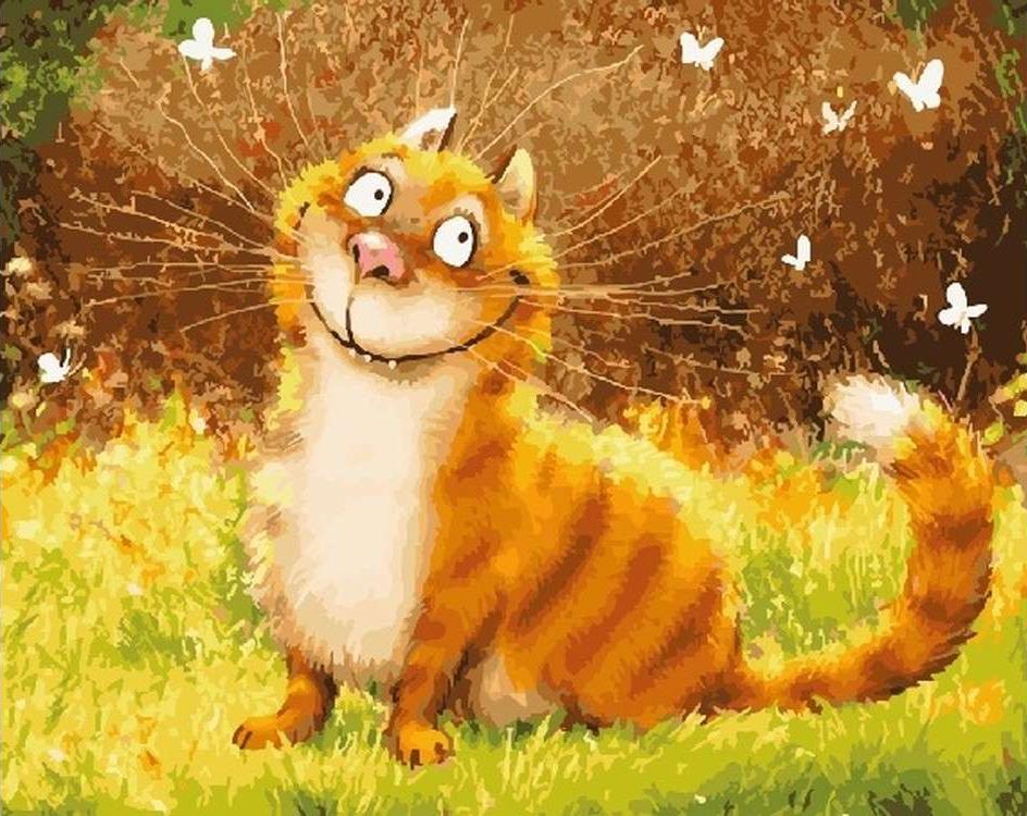 Картина по номерам «Улыбка кота»Цветной (Standart)<br><br>