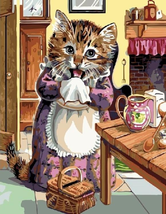 Картина по номерам «Кошка повар»Цветной (Standart)<br><br><br>Артикул: GX5615_Z<br>Основа: Холст<br>Сложность: сложные<br>Размер: 40x50 см<br>Количество цветов: 28<br>Техника рисования: Без смешивания красок