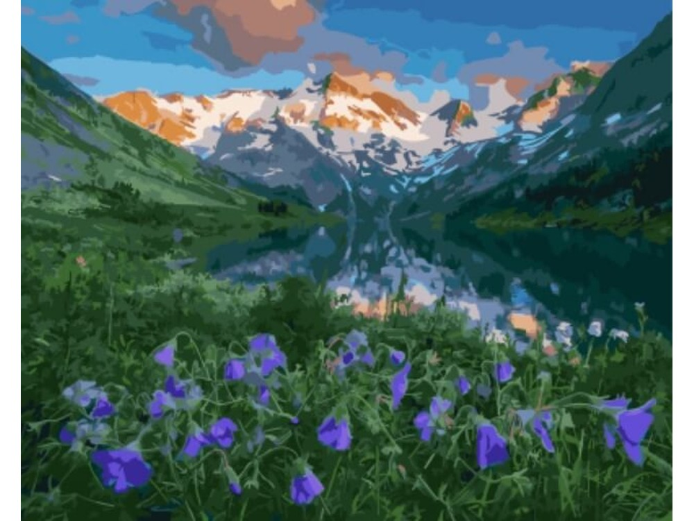 Картина по номерам «Нежные цветы среди гор»Цветной (Standart)<br><br><br>Артикул: GX5696_Z<br>Основа: Холст<br>Сложность: сложные<br>Размер: 40x50 см<br>Количество цветов: 28<br>Техника рисования: Без смешивания красок