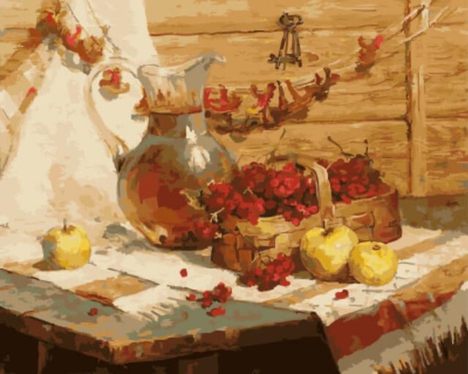 Картина по номерам «Деревенский натюрморт» Михаила КалининаЦветной (Standart)<br><br>