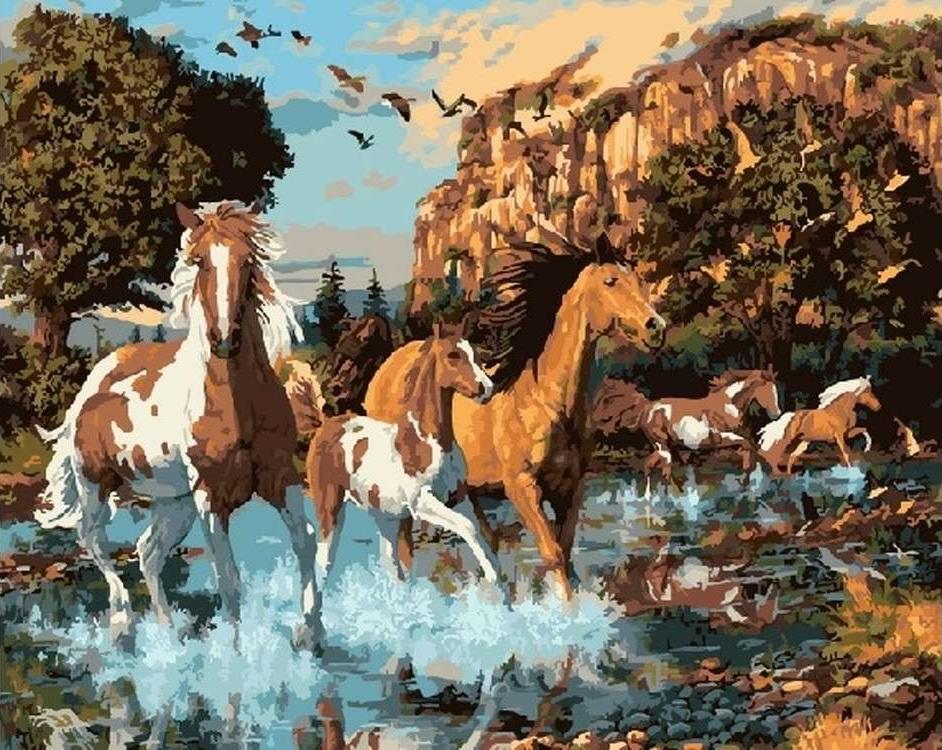 Картина по номерам «Табун лошадей» Стива РидаЦветной (Standart)<br><br><br>Артикул: GX5722_Z<br>Основа: Холст<br>Сложность: средние<br>Размер: 40x50 см<br>Количество цветов: 25<br>Техника рисования: Без смешивания красок