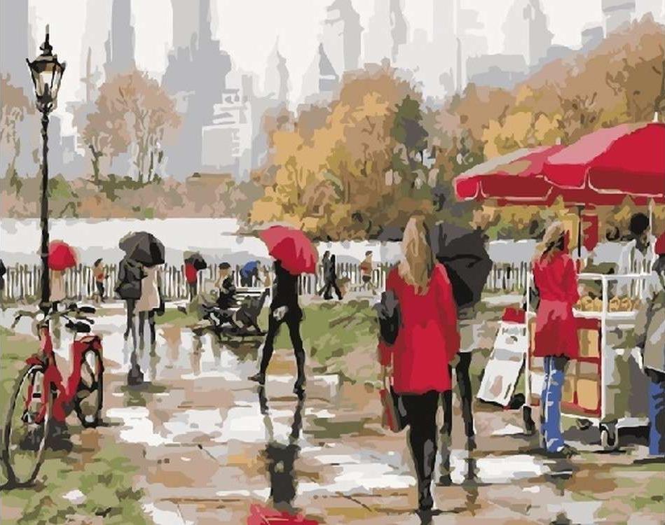 Картина по номерам «Дождь в парке» Ричарда МакнейлаЦветной (Standart)<br><br><br>Артикул: GX5735_Z<br>Основа: Холст<br>Сложность: средние<br>Размер: 40x50 см<br>Количество цветов: 26<br>Техника рисования: Без смешивания красок