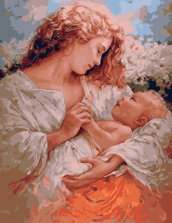 Картина по номерам «Мама и малыш» Бруно Ди МайоPaintboy (Premium)<br><br><br>Артикул: GX5743<br>Основа: Холст<br>Сложность: сложные<br>Размер: 40x50 см<br>Количество цветов: 28<br>Техника рисования: Без смешивания красок