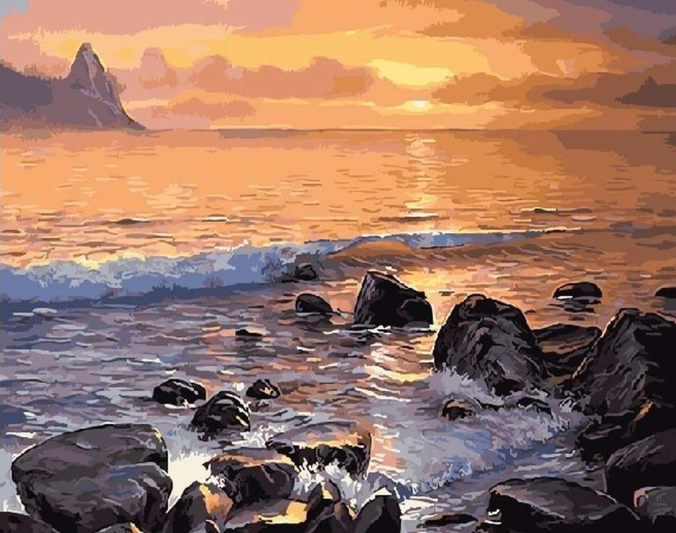 Картина по номерам «Каменистый берег»Paintboy (Premium)<br><br><br>Артикул: GX5749<br>Основа: Холст<br>Сложность: средние<br>Размер: 40x50 см<br>Количество цветов: 26<br>Техника рисования: Без смешивания красок