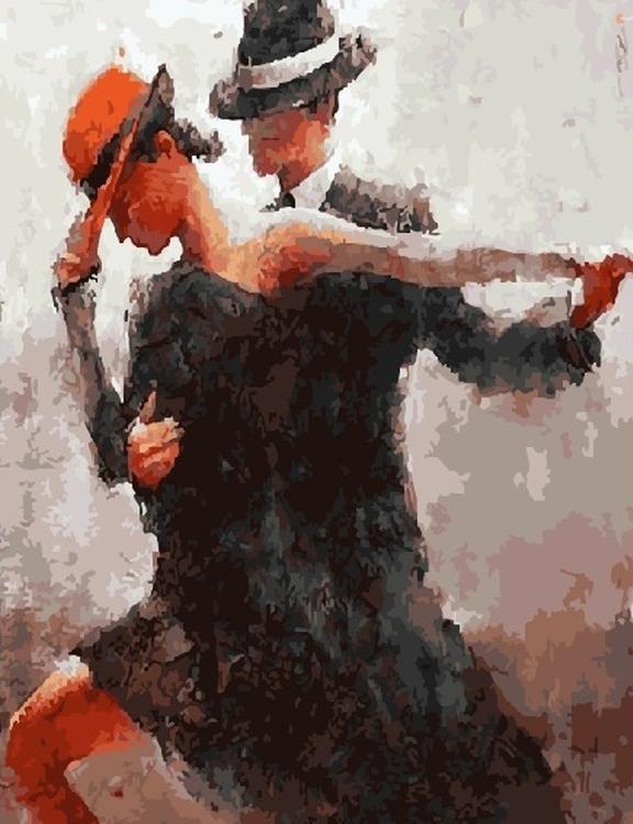Картина по номерам «Танец пары» Андре КонаЦветной (Standart)<br><br><br>Артикул: GX5815_Z<br>Основа: Холст<br>Сложность: средние<br>Размер: 40x50 см<br>Количество цветов: 27<br>Техника рисования: Без смешивания красок