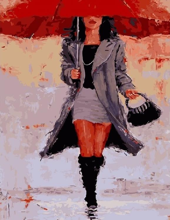 Картина по номерам «Под красным зонтом»Цветной (Standart)<br><br><br>Артикул: GX5820_Z<br>Основа: Холст<br>Сложность: средние<br>Размер: 40x50 см<br>Количество цветов: 24<br>Техника рисования: Без смешивания красок