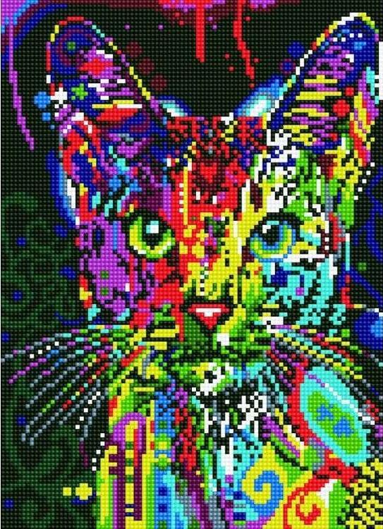 Алмазная вышивка «Кошка Поп-арт» Дина РуссоЦветной<br>Обновленная серия алмазной мозаики от бренда Цветной - это яркие популярные сюжеты и расширенная комплектация качественными составляющими. <br><br><br>Особенности алмазной вышивки от Цветной:<br><br>тканевый холст имеет ярко выраженную приятную на ощупь бархатисту...<br><br>Артикул: LE021<br>Основа: Холст на подрамнике<br>Сложность: средние<br>Размер: 30x40 см<br>Выкладка: Полная<br>Количество цветов: 13<br>Тип страз: Круглые непрозрачные (акриловые)