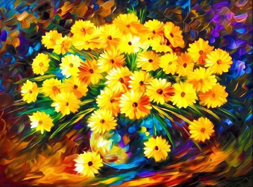 Алмазная вышивка «Букет осенних хризантем» фото