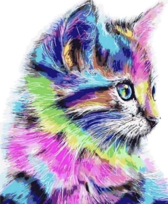 Алмазная вышивка «Разноцветная кошка»Цветной<br>Инновационный вариант алмазной вышивки бренда «Цветной». Новые идеи, которые делают наборы от этого производителя ценным подарком:<br><br>холст, натянутый на деревянный подрамник, с закрепленным плотным картоном. Выкладывать стразы на такую основу легко и ко...<br><br>Артикул: LG009<br>Основа: Холст на подрамнике<br>Сложность: сложные<br>Размер: 40x50 см<br>Выкладка: Полная<br>Количество цветов: 30<br>Тип страз: Круглые непрозрачные (акриловые)