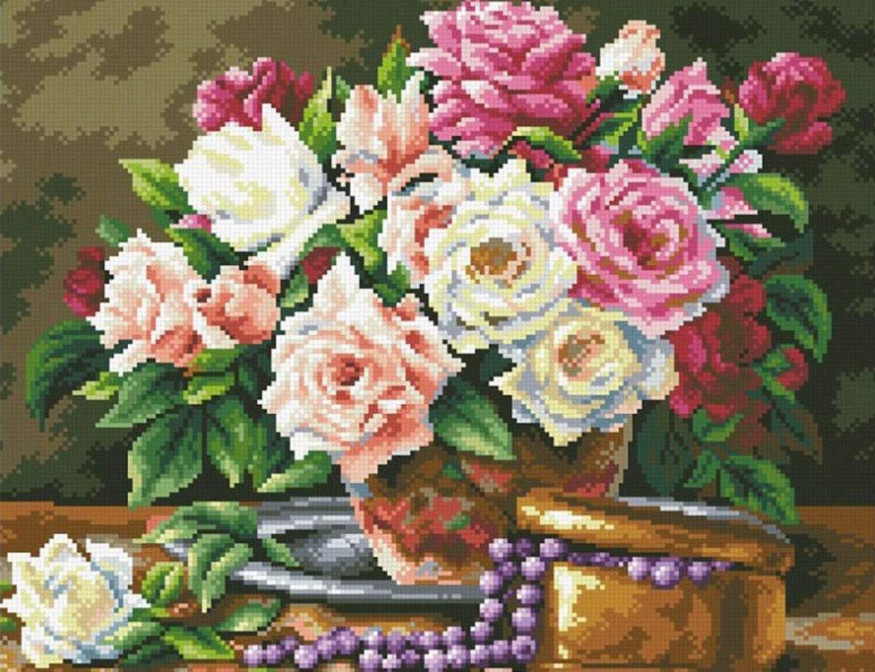 Алмазная вышивка «Розовый букет и бусины»Алмазная вышивка Паутинка<br><br><br>Артикул: М-250<br>Основа: Холст без подрамника<br>Сложность: сложные<br>Размер: 45x35 см<br>Выкладка: Полная<br>Количество цветов: 40<br>Тип страз: Квадратные