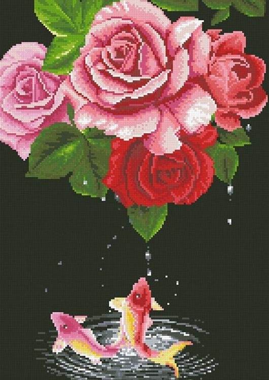 Алмазная вышивка «Карпы и розы»Алмазная вышивка Паутинка<br><br><br>Артикул: М-356<br>Основа: Холст без подрамника<br>Сложность: сложные<br>Размер: 35x50 см<br>Выкладка: Полная<br>Количество цветов: 35<br>Тип страз: Квадратные