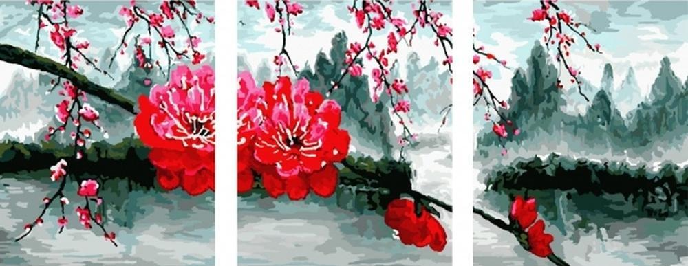 Картина по номерам «Цветущая ветка»Цветной (Standart)<br><br><br>Артикул: PX5127_Z<br>Основа: Холст<br>Сложность: сложные<br>Размер: 3 шт. 40x50 см<br>Количество цветов: 30<br>Техника рисования: Без смешивания красок