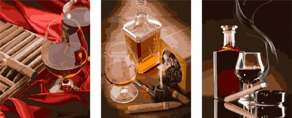 Картина по номерам «Коньяк и сигары»Цветной (Standart)<br><br><br>Артикул: PX5138_Z<br>Основа: Холст<br>Сложность: сложные<br>Размер: 3 шт. 40x50 см<br>Количество цветов: 30<br>Техника рисования: Без смешивания красок