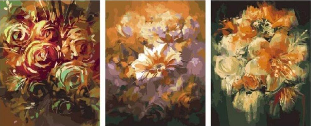 Картина по номерам «Цветы»Цветной (Standart)<br><br><br>Артикул: PX5154_Z<br>Основа: Холст<br>Сложность: сложные<br>Размер: 3 шт. 40x50 см<br>Количество цветов: 37<br>Техника рисования: Без смешивания красок