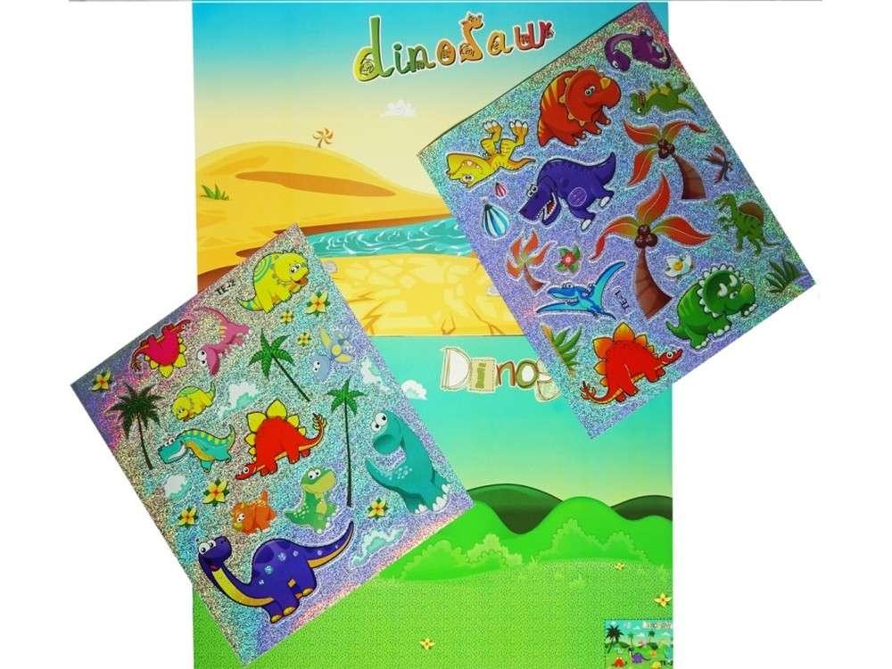 Мозаика из стикеров «Динозавры»Мозаика из стикеров<br>Процесс создания мозаики прост:<br> - отделите наклейку от общего блока;<br> - приклейте ее на место, указанное на сюжете. <br>Также вы можете пофантазировать и создать исключительно свою картину, расположив персонажей так, как захочется.<br><br>Артикул: SD-TE-1-2<br>Основа: Картон<br>Размер: 21x10 см<br>Возраст: от 3 лет