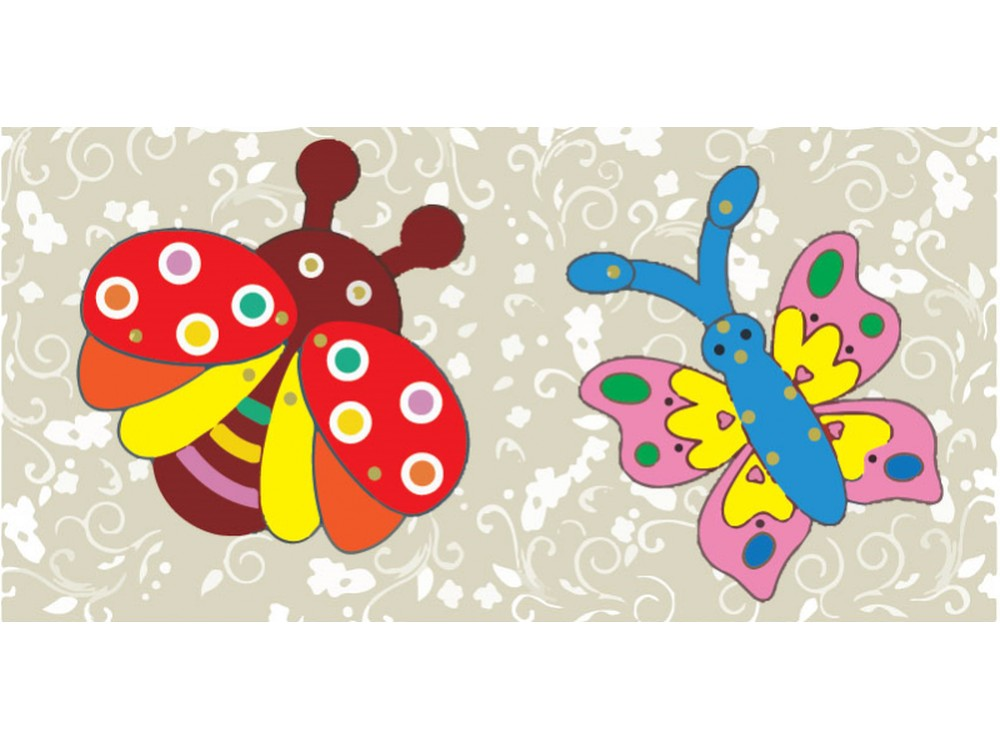 Мозаика «Божья коровка и бабочка» (фигурки из картона)Мозаика из стикеров<br>Процесс изготовления забавных фигурок прост:<br> - выдавите все детали из картона;<br> - соедините заготовки с помощью металлических скреп (места соединения обозначены кружочками).<br>При желании раскрасьте готовые фигурки красками, фломастерами или цветными ка...<br><br>Артикул: SX-DH 521<br>Основа: Картон<br>Размер: 21x10 см<br>Возраст: от 3 лет