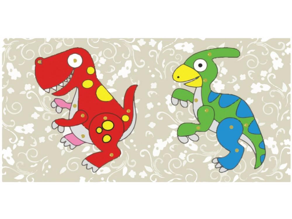 Мозаика «Динозаврики» (фигурки из картона)Мозаика из стикеров<br>Процесс изготовления забавных фигурок прост:<br> - выдавите все детали из картона;<br> - соедините заготовки с помощью металлических скреп (места соединения обозначены кружочками).<br>При желании раскрасьте готовые фигурки красками, фломастерами или цветными ка...<br><br>Артикул: SX-DH 527<br>Основа: Картон<br>Размер: 21x10 см<br>Возраст: от 3 лет